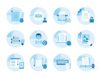 Set of icons on the topic writing, text editing, printing. Royalty Free Stock Photo