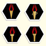 Set of icons with torches. Royalty Free Stock Photography