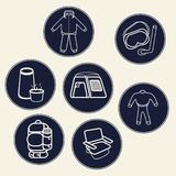 A set of icons for tourism products or communities or sites dedicated to hiking and various sports, including water stock illustration