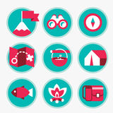Set of icons of tourism and recreation Royalty Free Stock Photo