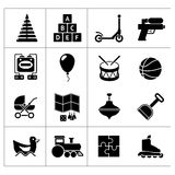 Set icons of toys. Isolated on white Royalty Free Stock Photos