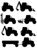 Set icons tractors black silhouette vector illustration Royalty Free Stock Photography