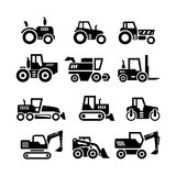 Set icons of tractors, farm and buildings machines. Construction vehicles isolated on white stock illustration