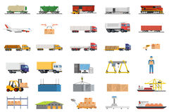 Set of icons transport logistics concept. Warehouse and production, stackers and trolley, scanner barcode, guaranteed and loading, trucks and trains, crane and Stock Photos