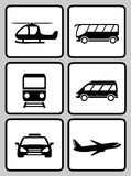 Set icons with transport silhouette Royalty Free Stock Photos