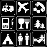 Set of icons (travel). Set white of icons on a black background Royalty Free Stock Photography