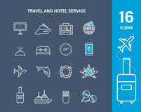 Set icons of travel and hotel service. Vacation, travel, trip. Stock Images