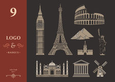 Set of Icons of Travel and Landmarks Stock Photography