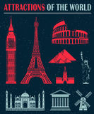 Set of Icons of Travel and Landmarks Royalty Free Stock Images