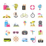 Set Of Icons For Travel And Tourism Active Vacation, Sea Beach Recreation Holiday Concept Stock Images