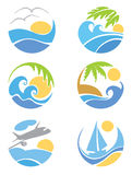 Set icons -- travel & vacation. Set illustrations --  logotypes travel & vacation Stock Images