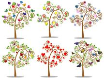 Set of icons tree with design elements. Vector illustration. Vector collection of trees with decorative elements in color Stock Photo