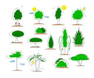 Set of icons of tree shape. Vector. stock illustration