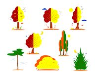 Set of icons of tree shape. Vector.Line style stock illustration