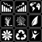 Set of icons (trees, nature, ecology) Stock Photos