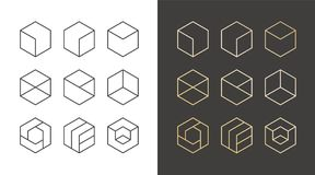 Set of 9 icons, trendy golden logo. Linear design elements. Hexagon vector illustration Royalty Free Stock Photography