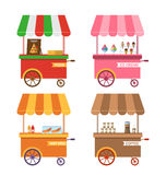 Set Icons of Trolley Cart of Pizza Stock Images
