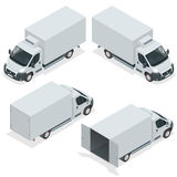 Set of icons truck for transportation cargo. Van for the carriage of cargo. Delivery car. Vector isometric illustration. Royalty Free Stock Image
