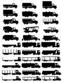 Set icons trucks semi trailer black silhouette vector illustration. On white background vector illustration