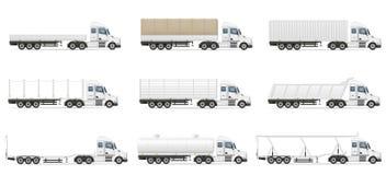 Set icons trucks semi trailer vector illustration Stock Image