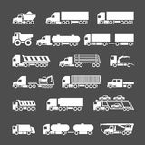Set icons of trucks, trailers and vehicles. Isolated on grey royalty free illustration