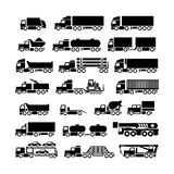 Set icons of trucks, trailers and vehicles. Isolated on white vector illustration