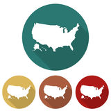 Set of icons USA map in a flat design Stock Photo