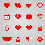 Set of icons for Valentine day,  illustration Stock Photography