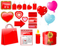 Set of icons for Valentine's day. Set of icons for decoration of cards of Valentine's day Royalty Free Stock Images