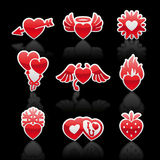 Set icons of Valentine's day red hearts. Vector Royalty Free Stock Images