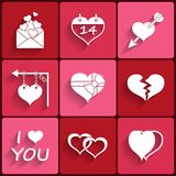 Set icons of Valentine's day red hearts signs Royalty Free Stock Images