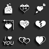 Set icons of Valentine's day red hearts signs Stock Photos