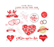 Set of icons for Valentines day, Mothers day, wedding, love and romantic Stock Image