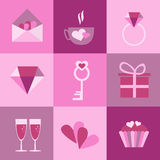 Set of icons for Valentines day, Mothers day, wedding Royalty Free Stock Images