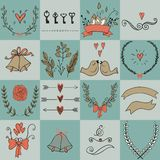 Set of icons for Valentines day, Mothers day, wedding, love and romantic events. Stock Photos