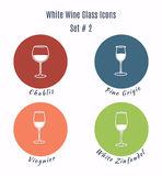 Set of  icons. Variation of detailed hand drawn wine glass Royalty Free Stock Photos