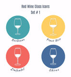 Set of  icons. Variation of detailed hand drawn wine glass Stock Images
