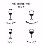 Set of  icons. Variation of detailed hand drawn wine glass Stock Photography