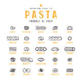 Set of icons varieties of pasta royalty free illustration