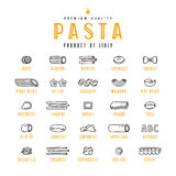 Set of icons varieties of pasta Royalty Free Stock Images
