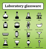 Set of 16 icons of various laboratory glassware. Backgrounds, icons, objects, logos, logos for websites, banners, books, textbooks on the subject of chemistry Stock Photography