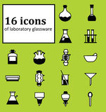 Set of 16 icons of various laboratory glassware. Backgrounds, icons, objects, logos, logos for websites, banners, books, textbooks on the subject of chemistry Stock Image