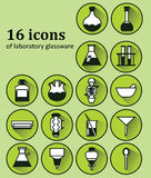 Set of 16 icons of various laboratory glassware. Backgrounds, icons, objects, logos, logos for websites, banners, books, textbooks on the subject of chemistry Royalty Free Stock Image