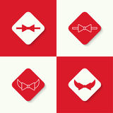Set icons with vector bow tie Royalty Free Stock Images