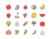 Set 20 Icons Vegan food, set of badges, emblems and stamps . Set 20 Icons Vegan food, set of badges, emblems and stamps Royalty Free Illustration
