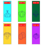 Set  icons of vegetables on bookmark aper Royalty Free Stock Image