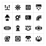 Set icons of ventilation and conditioning. On white Royalty Free Stock Image
