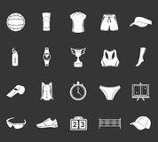 Set of icons volleyball. Volleyball icon set - stock . Large set of symbols, logos and icons of volleyball. Sports equipment, protection, trackers, silhouettes Royalty Free Stock Image