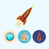 Set icons with wall clock, buildings ,rocket Royalty Free Stock Photos