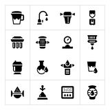 Set icons of water filters Royalty Free Stock Images